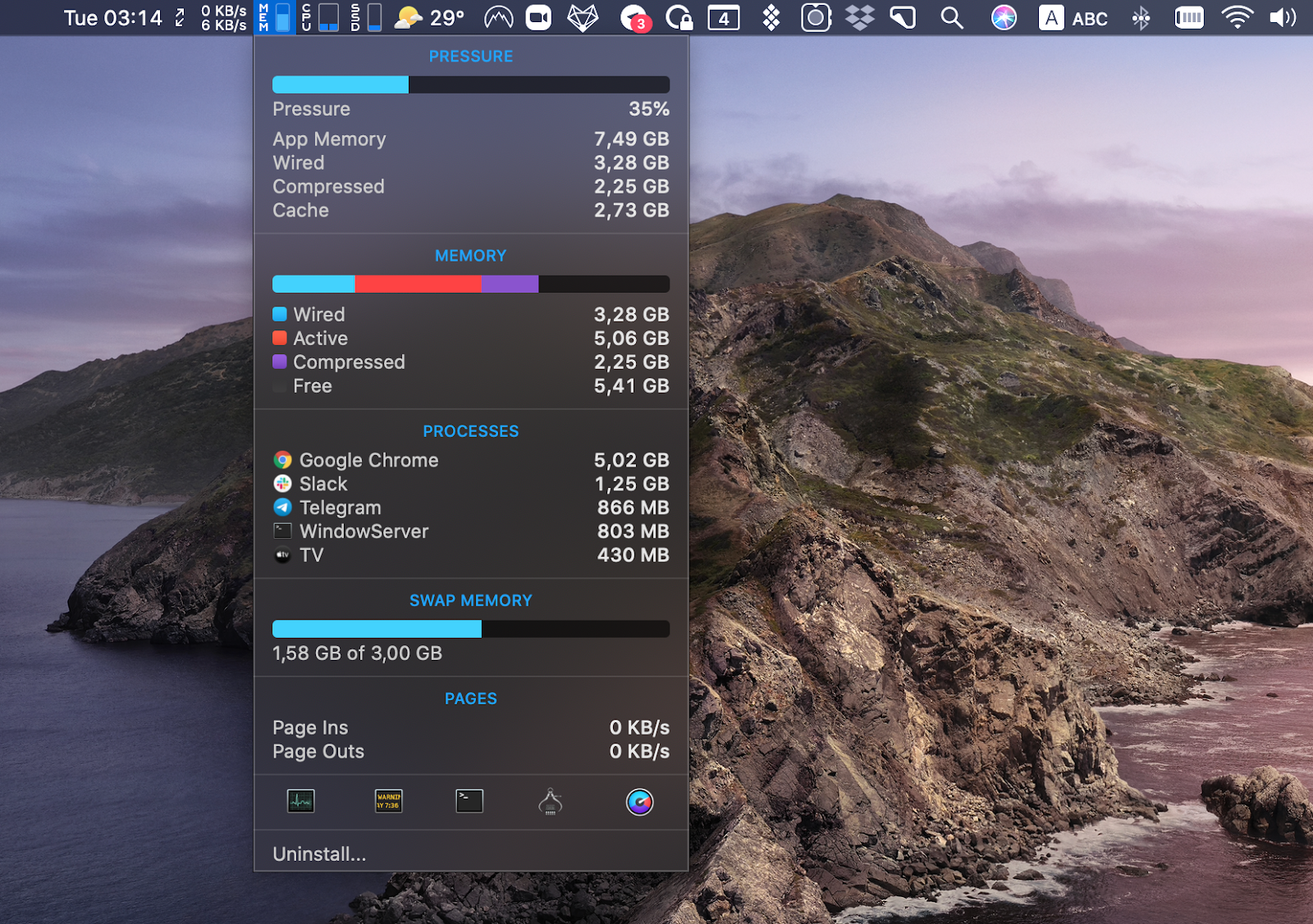 iStat Menus track performance Mac