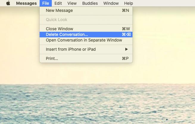 delete conversation iMessage Mac