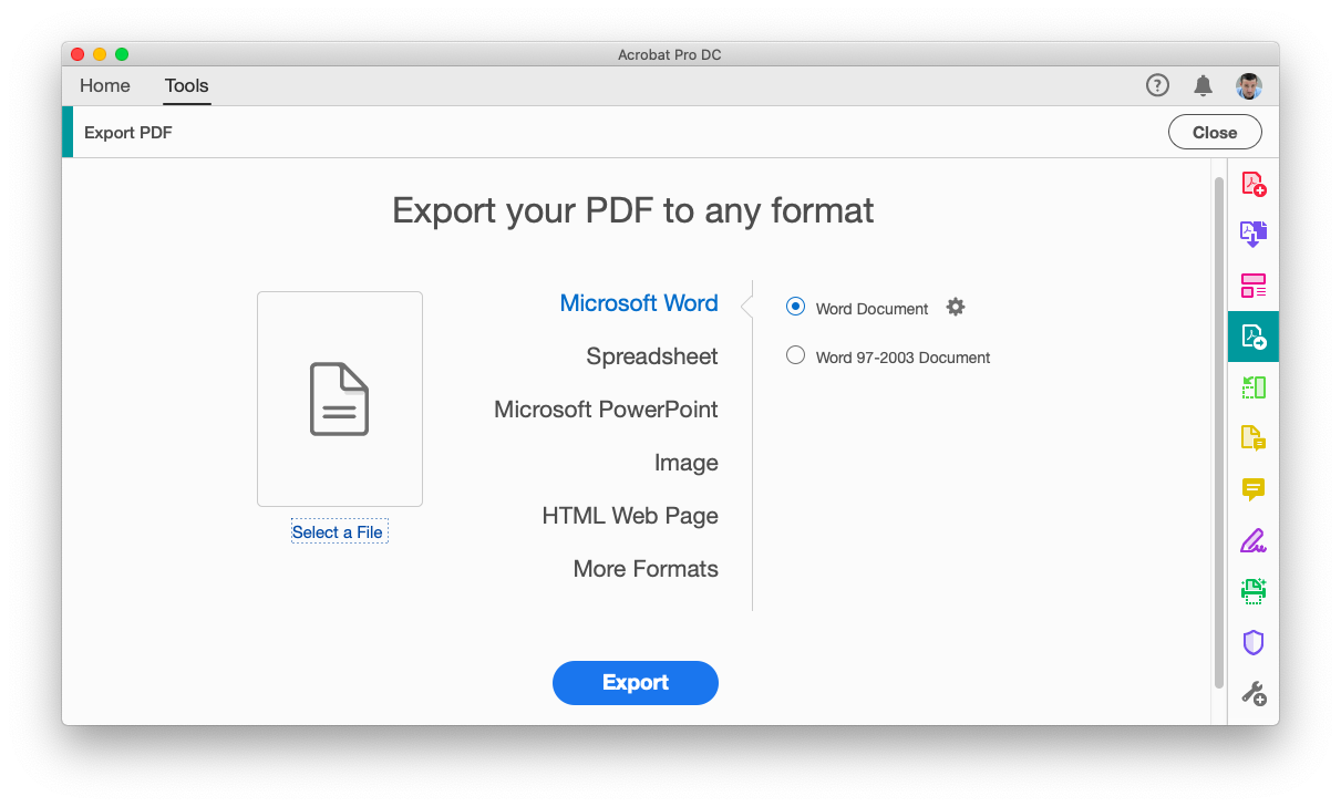 Export from PDF with Adobe Acrobat Pro