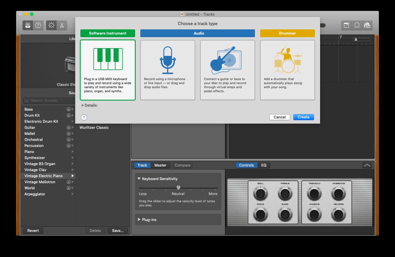 add new instrument GarageBand Mac