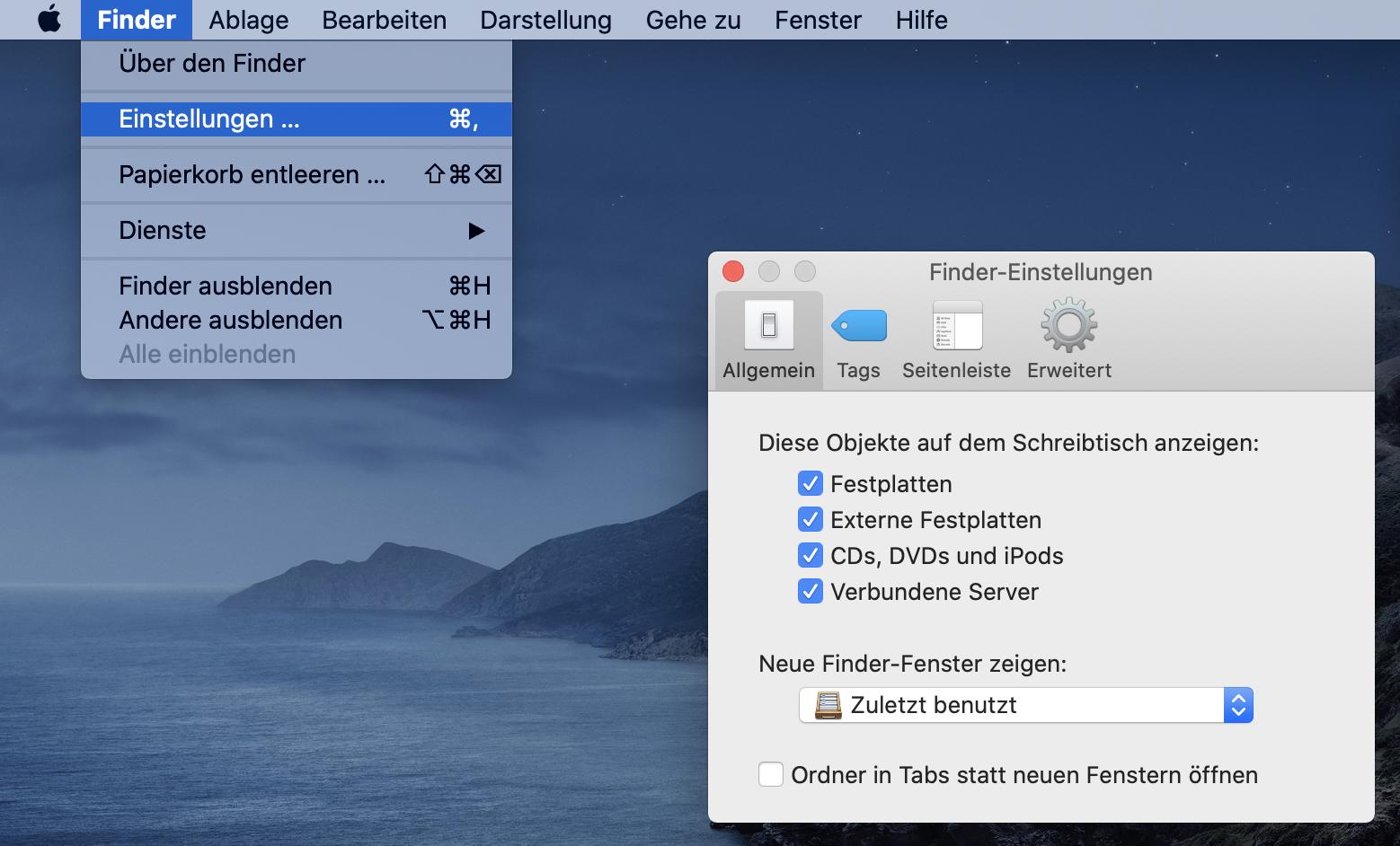 Anzeigen verbundener Volumes, Geräte und Server auf dem Mac