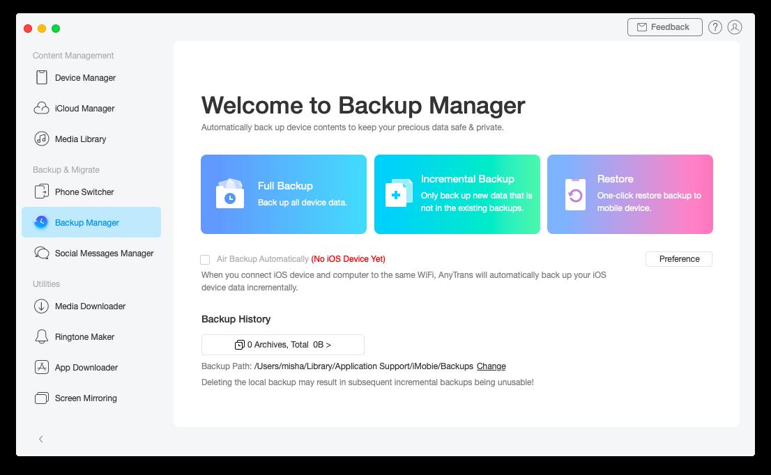 AnyTrans iPhone iOS backup data Mac