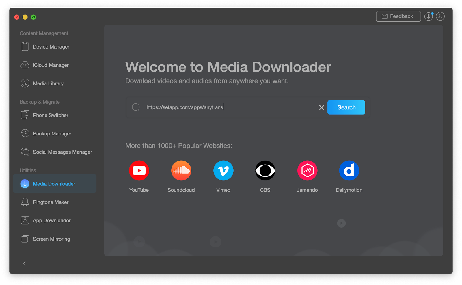 AnyTrans media dowloader