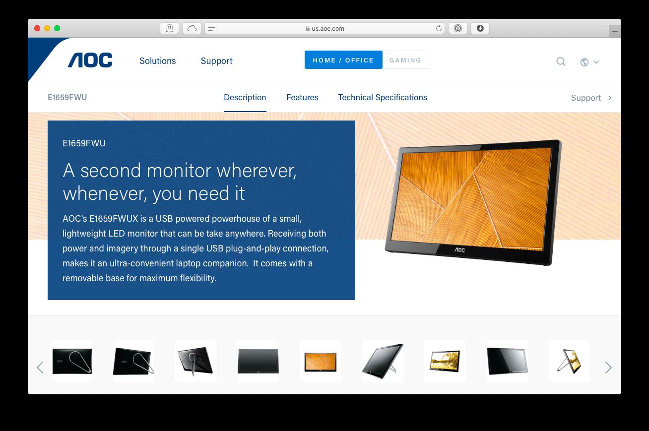 AOC e1659fwu monitor dual portable Mac