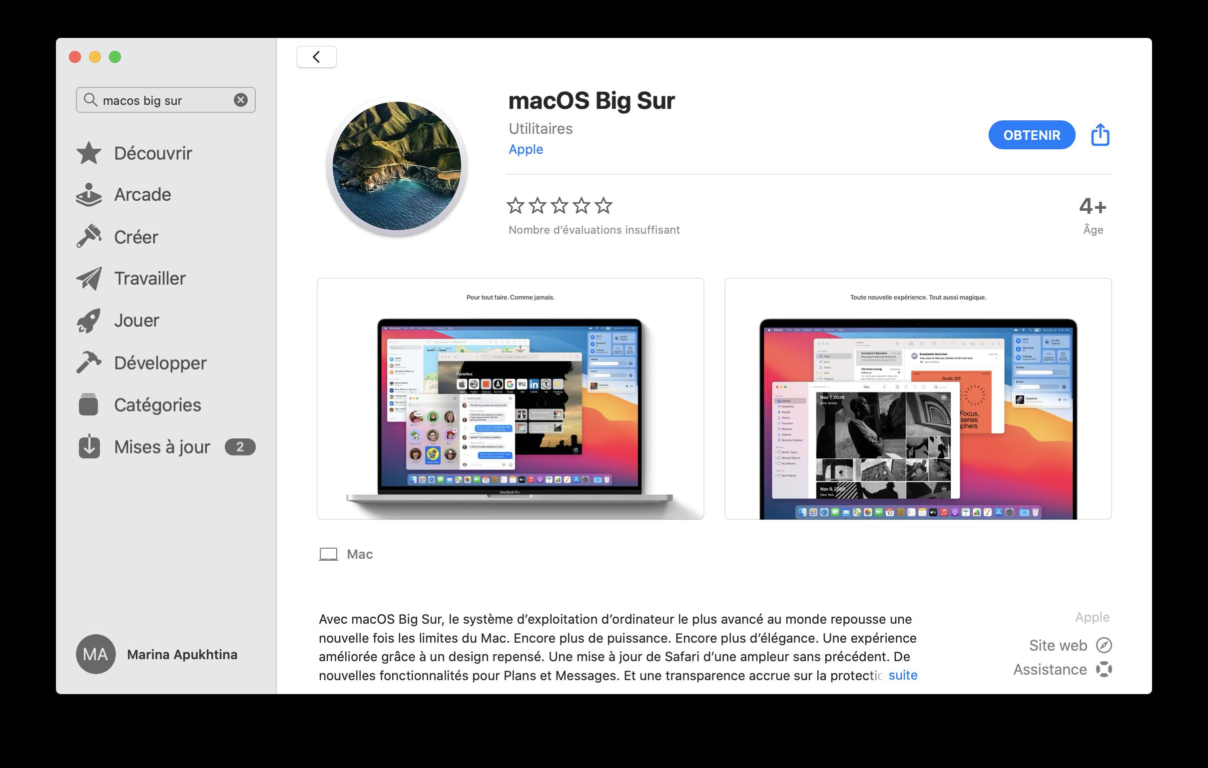 macOS 11 Big Sur sur App Store