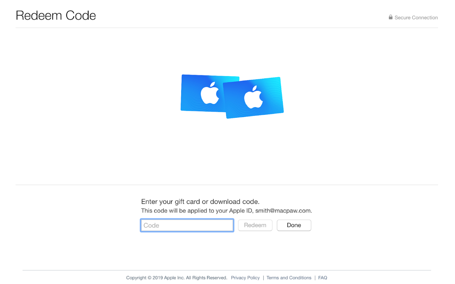 Apple Store gift cards redeem