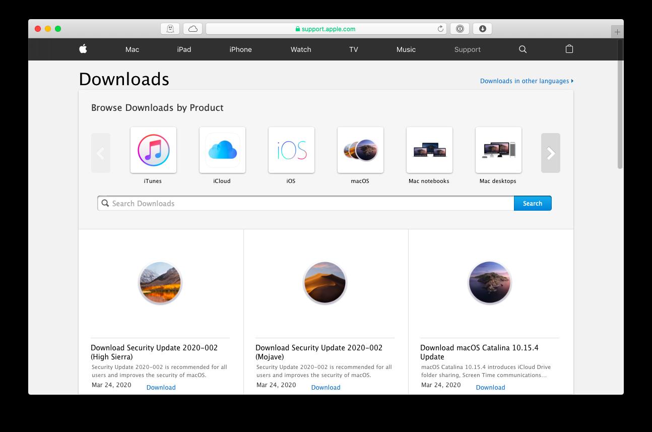 Apple download software website macOS