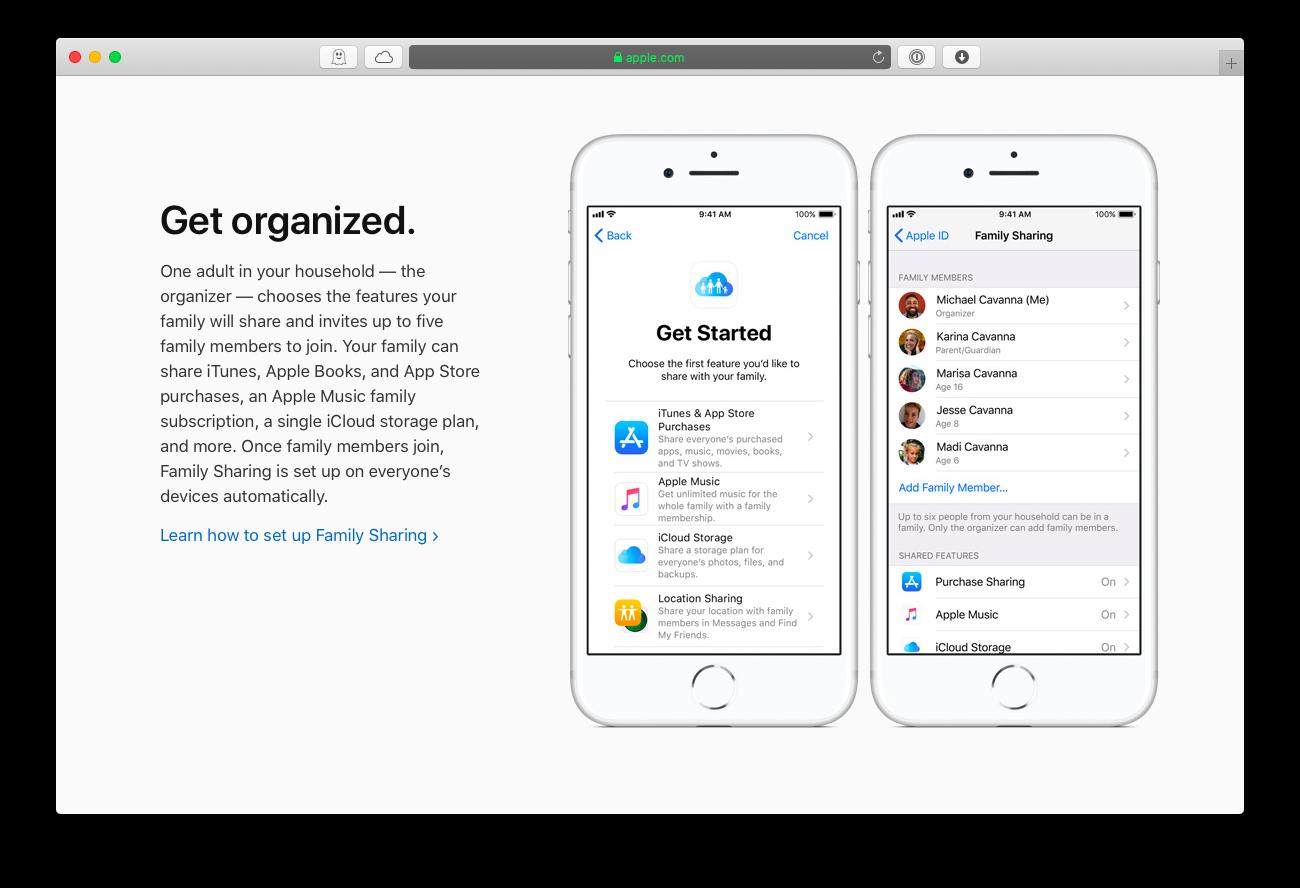 Apple Family Sharing setup
