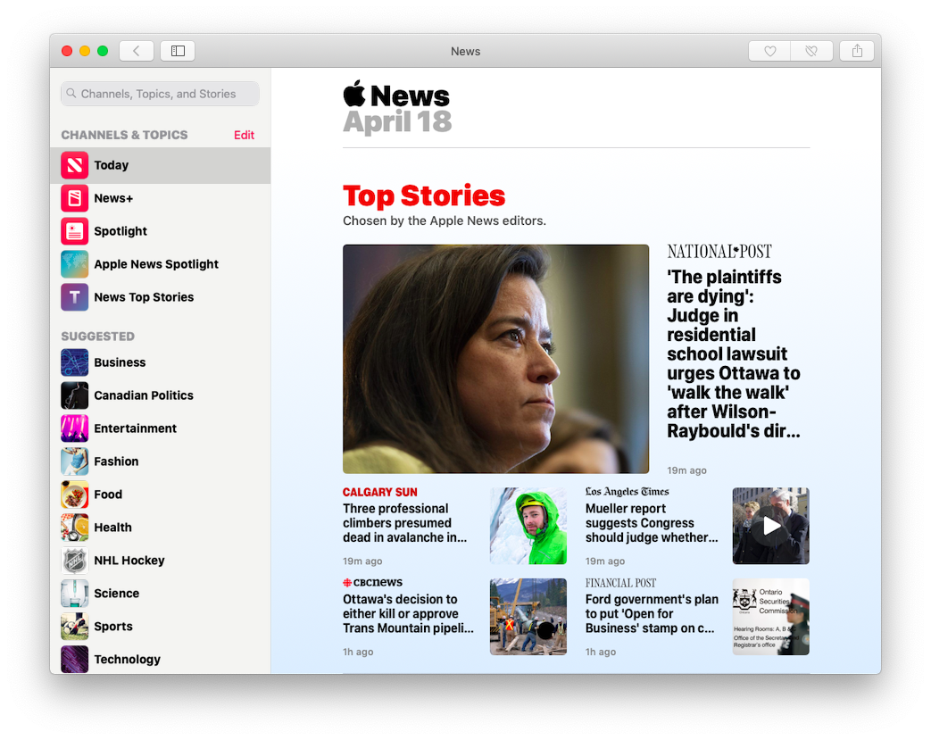 Top Stories in Apple News