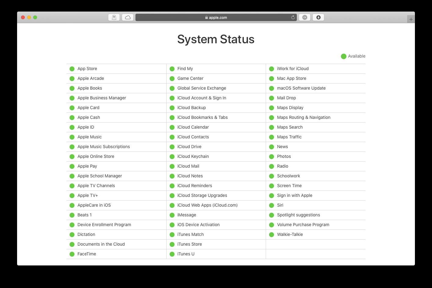 Apple server status system iCloud Mac