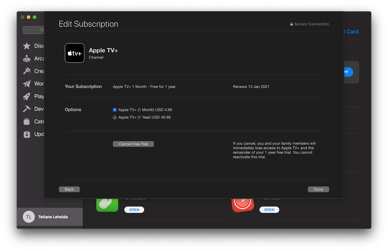 Apple TV+ subscription status
