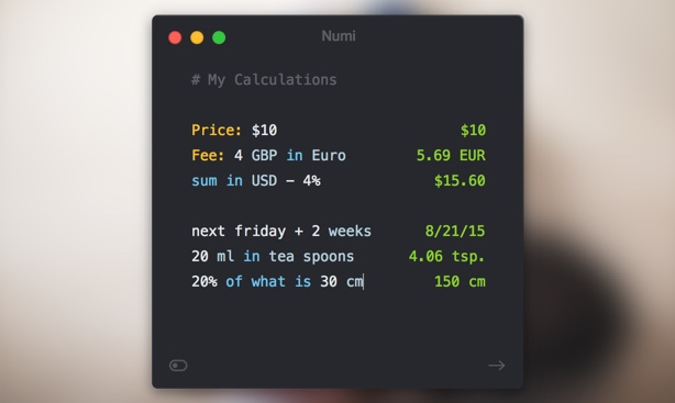 Numi calculator