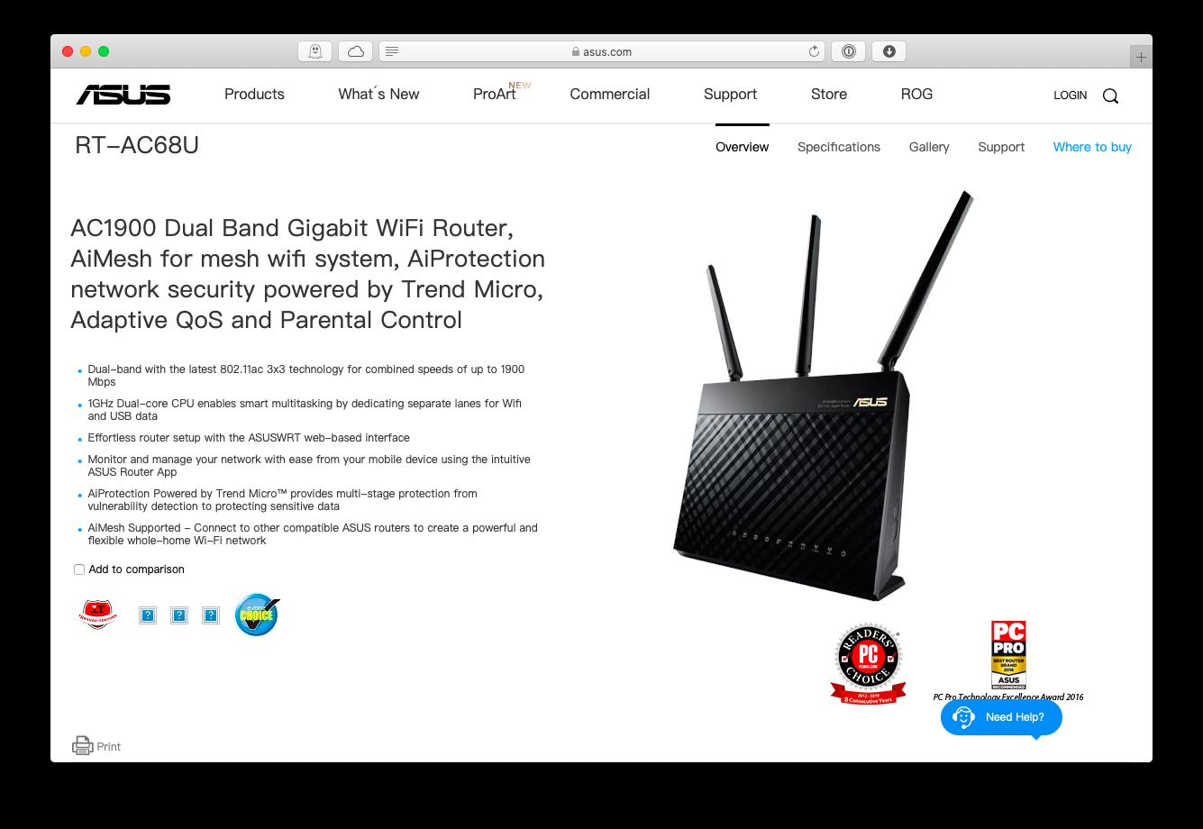 Asus Gigabit wifi router Mac