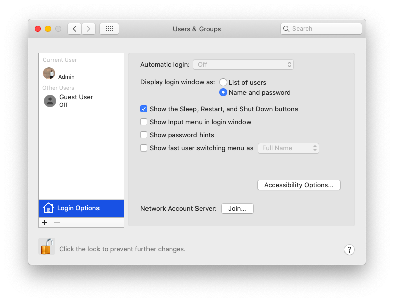 automatic login lock Mac