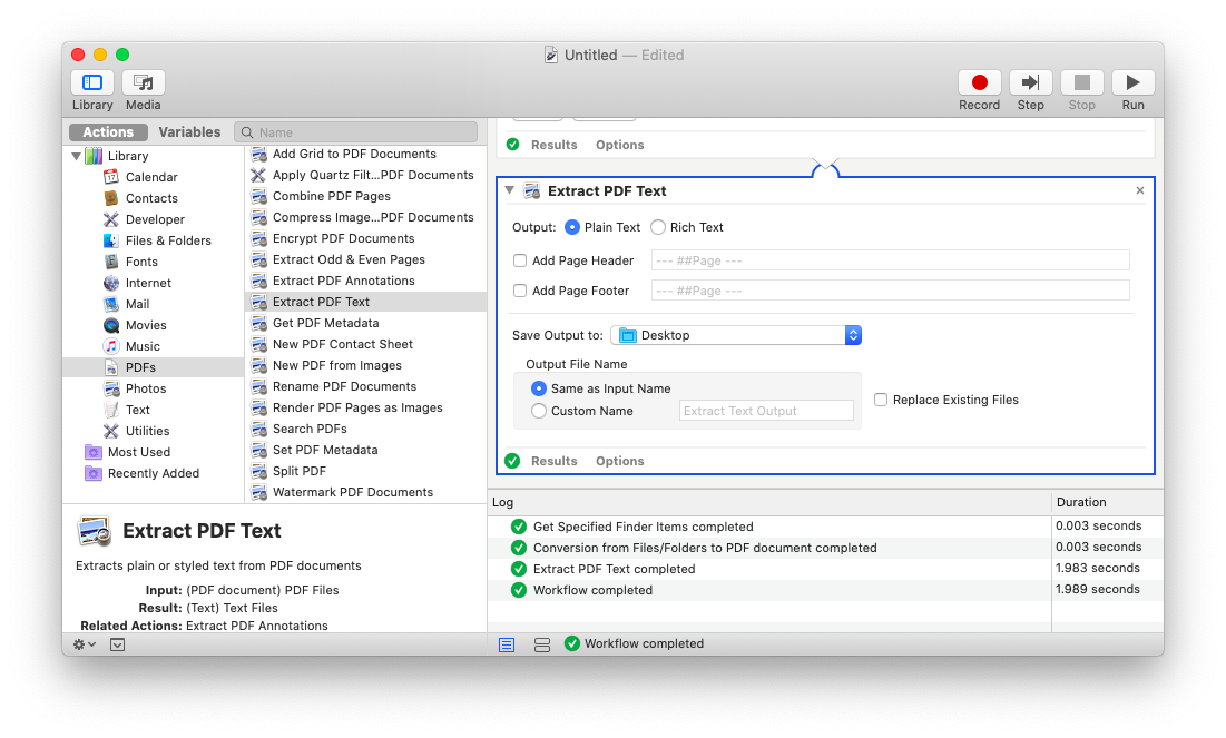 Convert from PDF with Automator