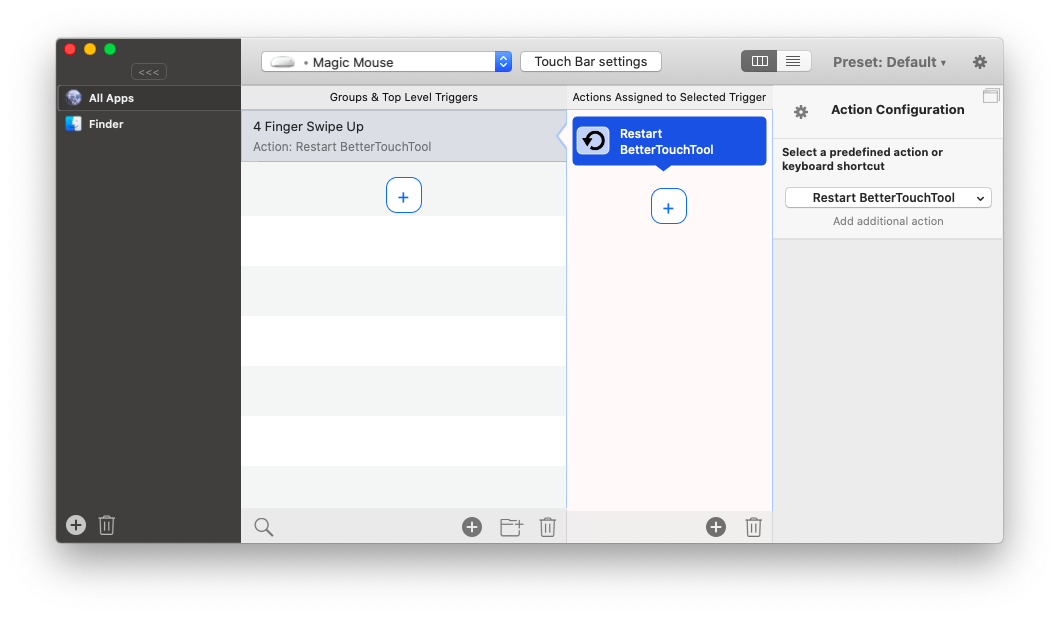 BetterTouchTool custom gestures shortcuts app Mac