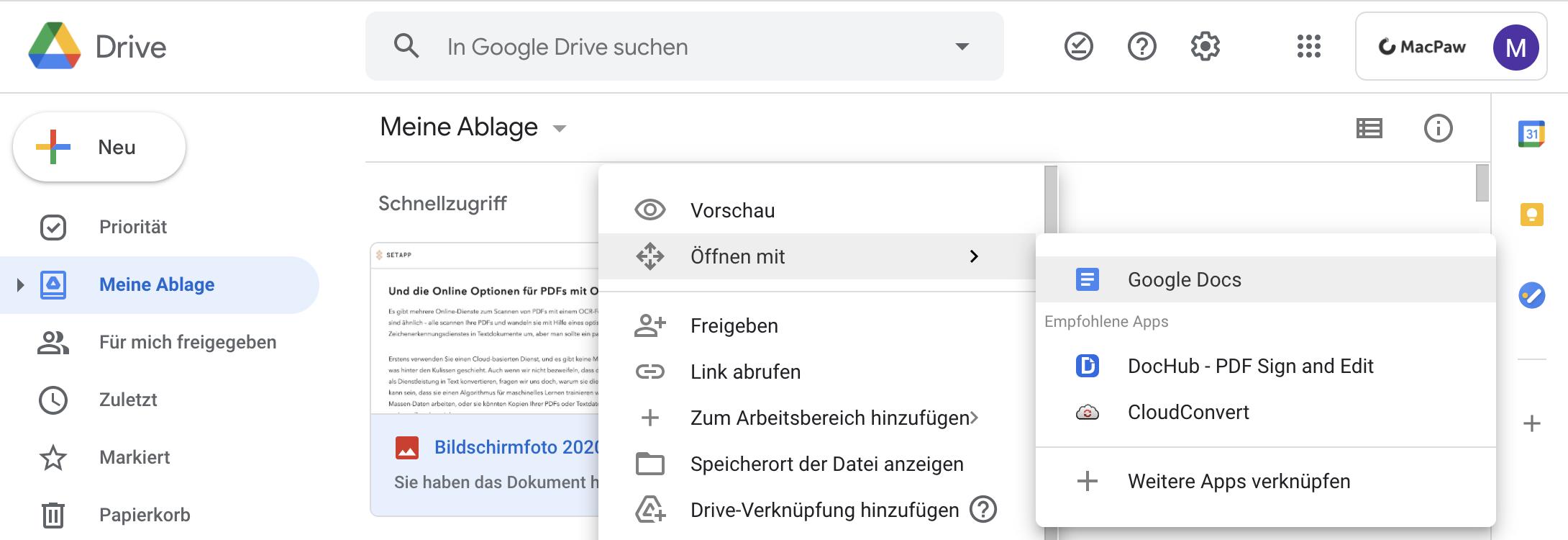 Einen Screenshot auf Google Drive hochladen