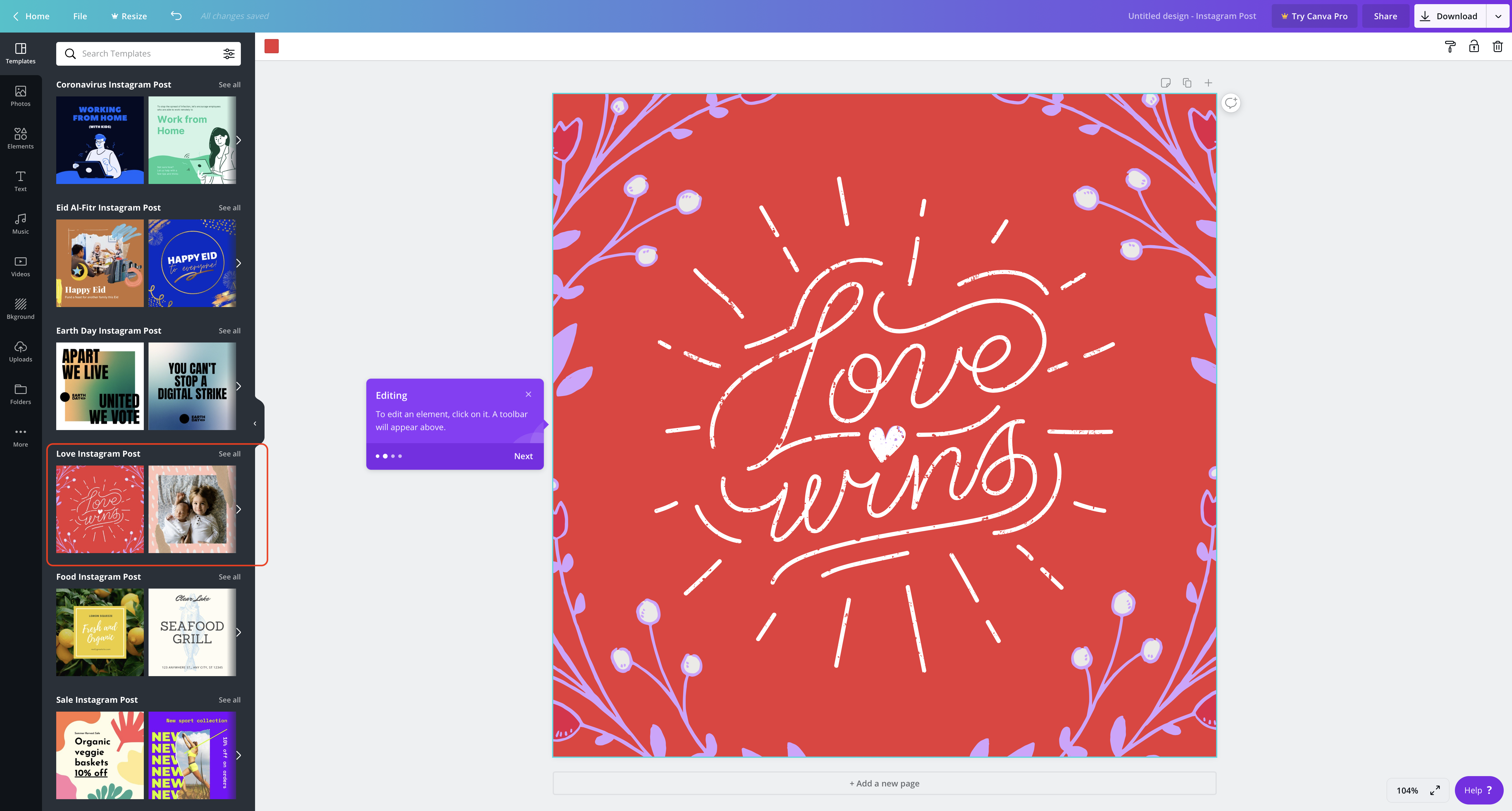 Editing in Canva