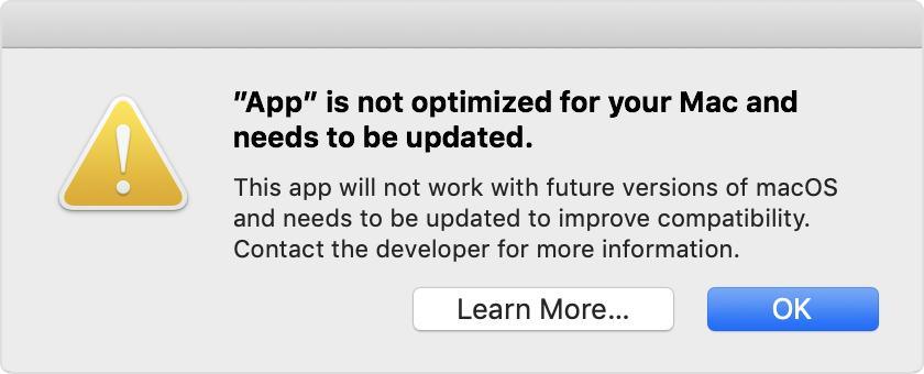Mensagem de erro: o app não está otimizado para o Mac e precisa ser atualizado
