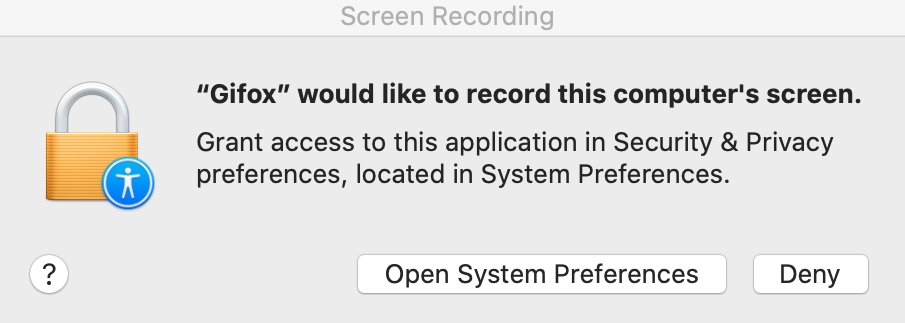 Record screen permission on macOS 10.15