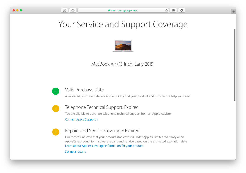 check service coverage Apple Mac