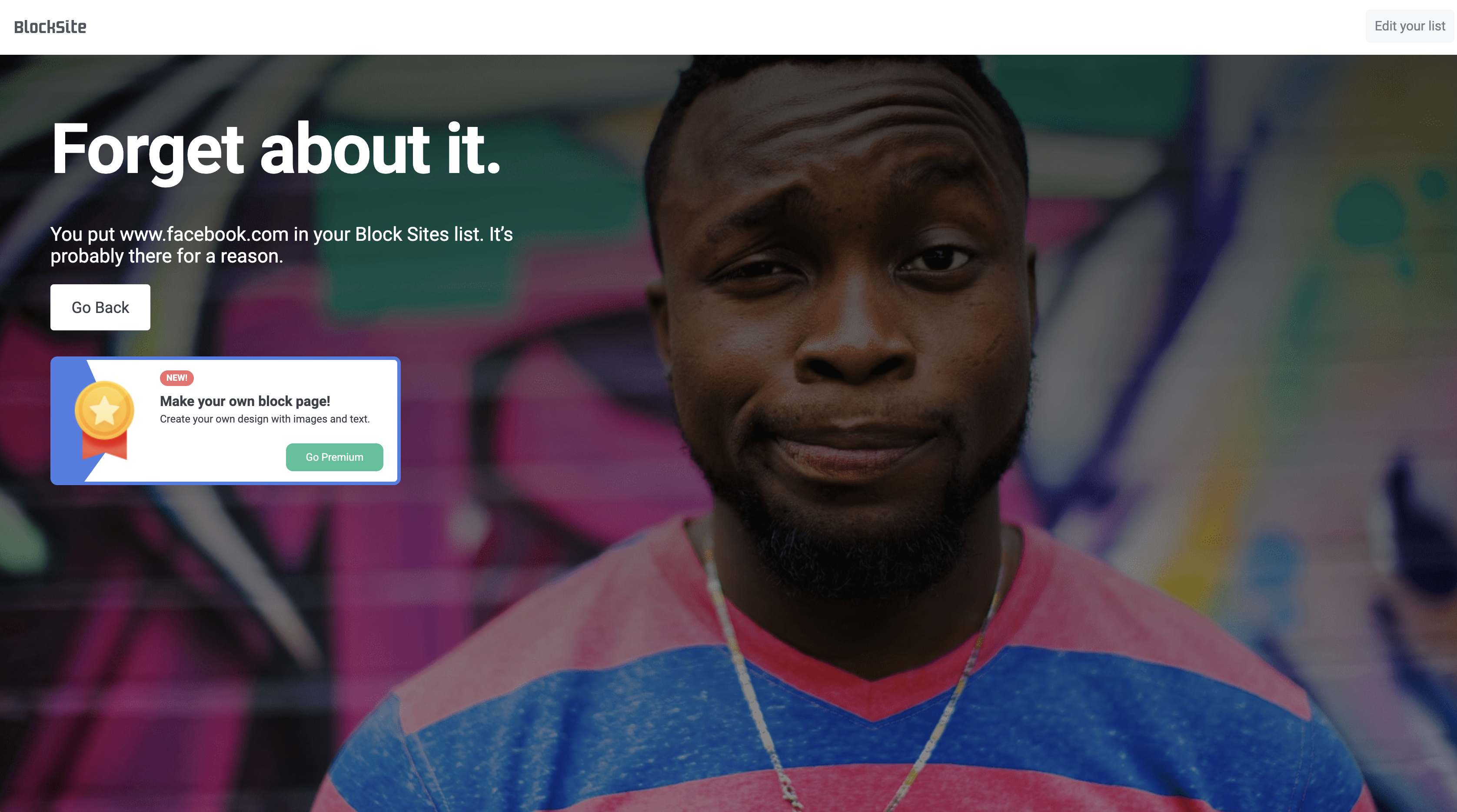 Website blocking message