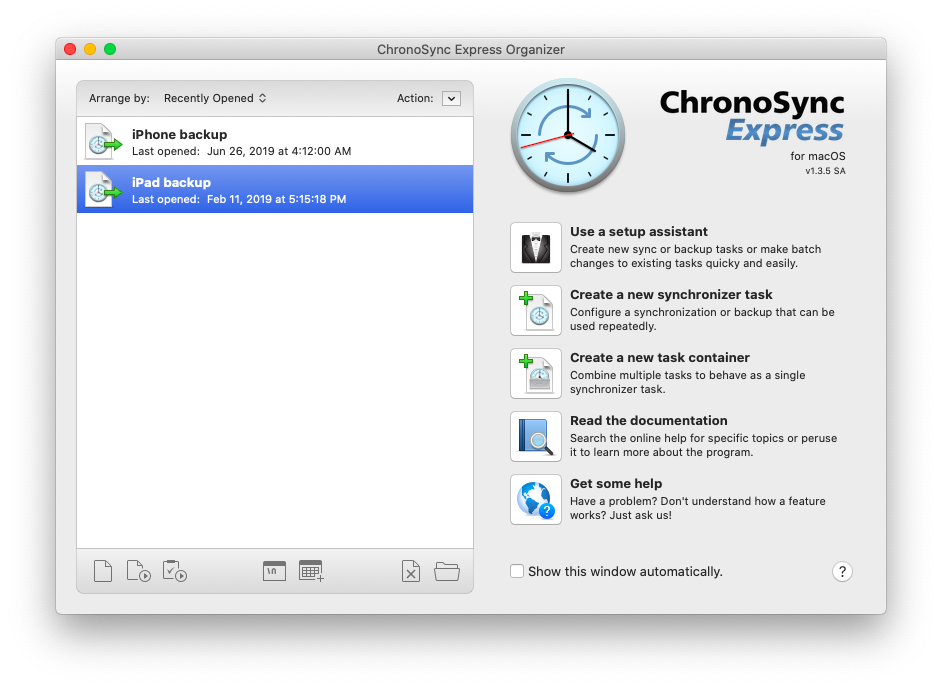 ChronoSync Express sync backup Mac iPhone iPad