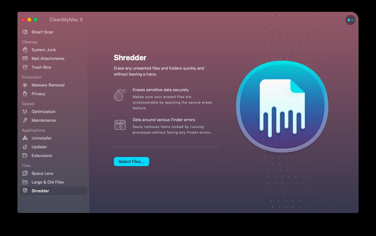CleanMyMac X optimization app Mac shredder