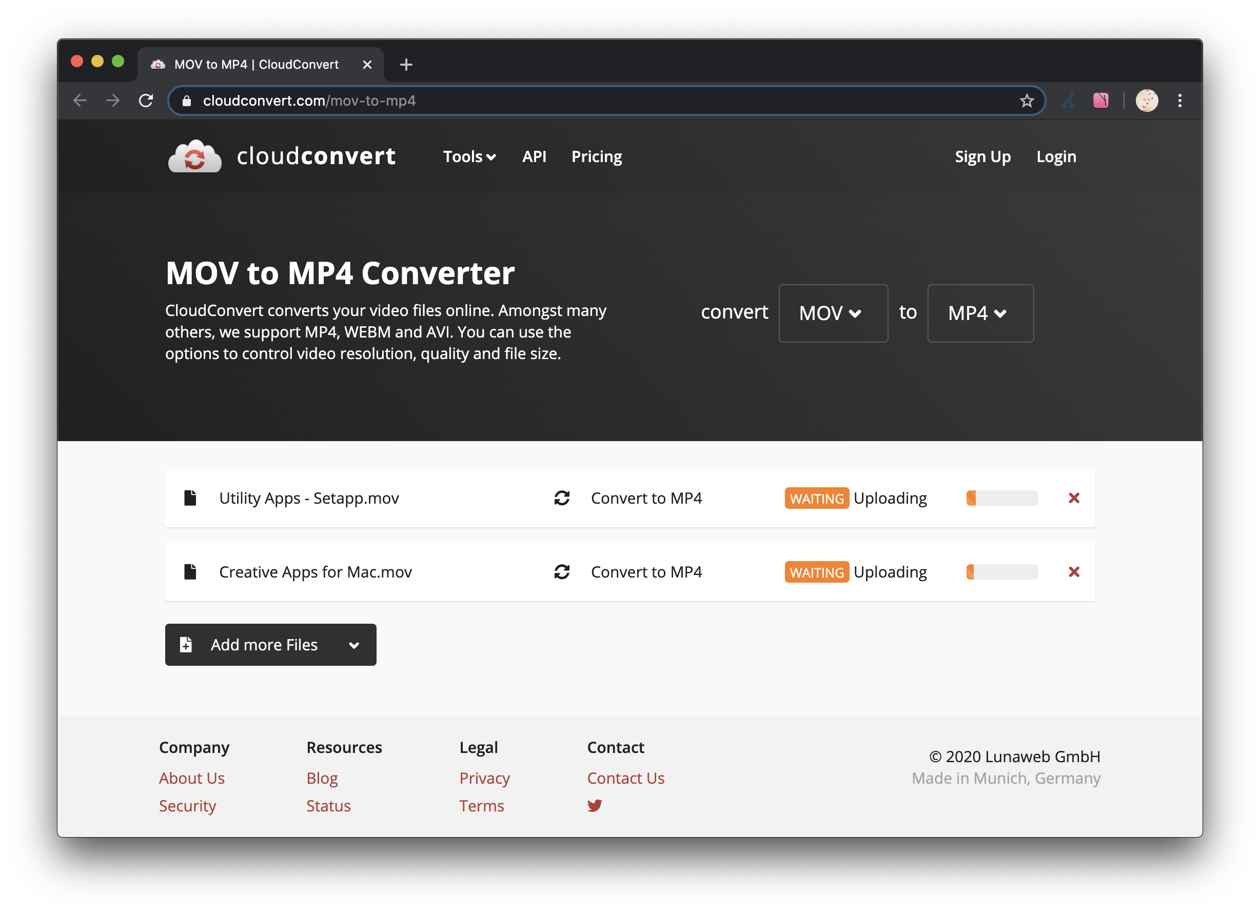 Convertisseur en ligne mov en mp4 CloudConvert