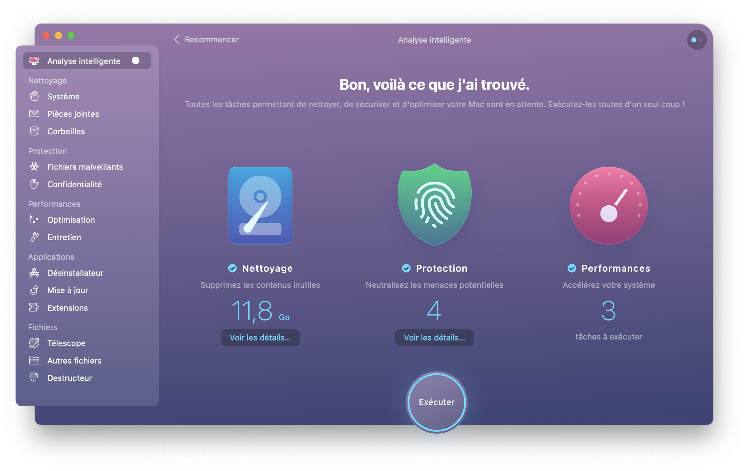 Analyse intelligente CleanMyMac X