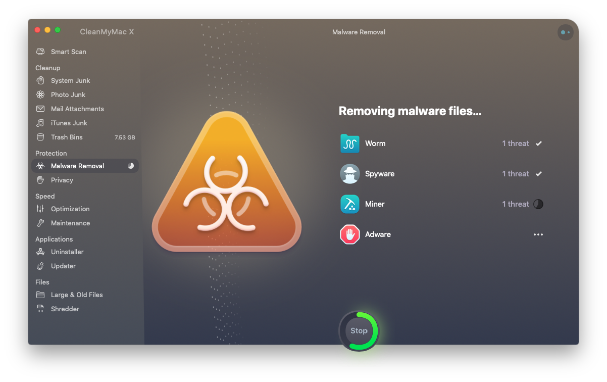 CleanMyMac X malware removal cleanup in progress