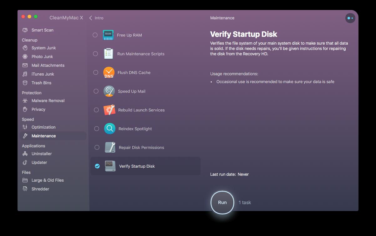 Verify startup disk