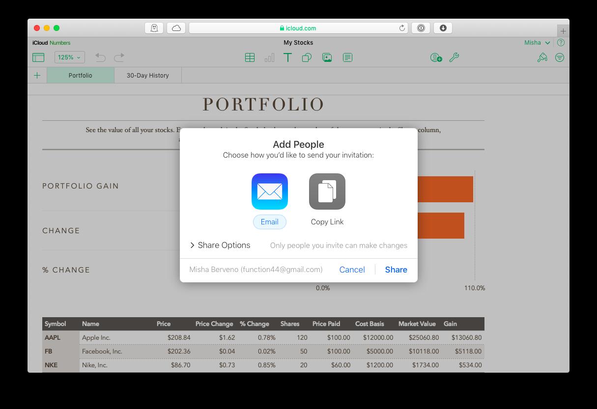 collaborate iWork Numbers web iCloud