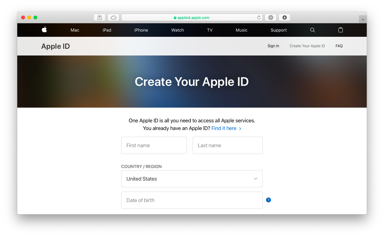 create apple id browser