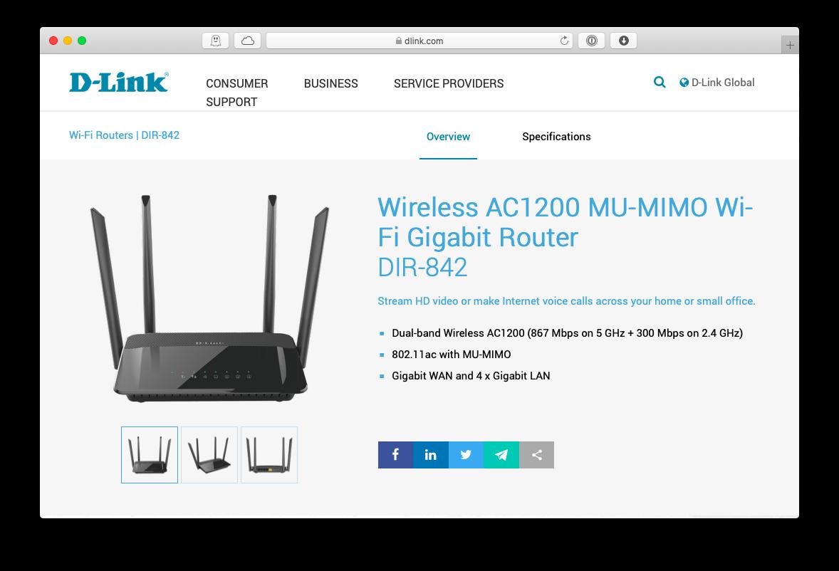 D-Link wireless ac1200 DIR-842 router Mac