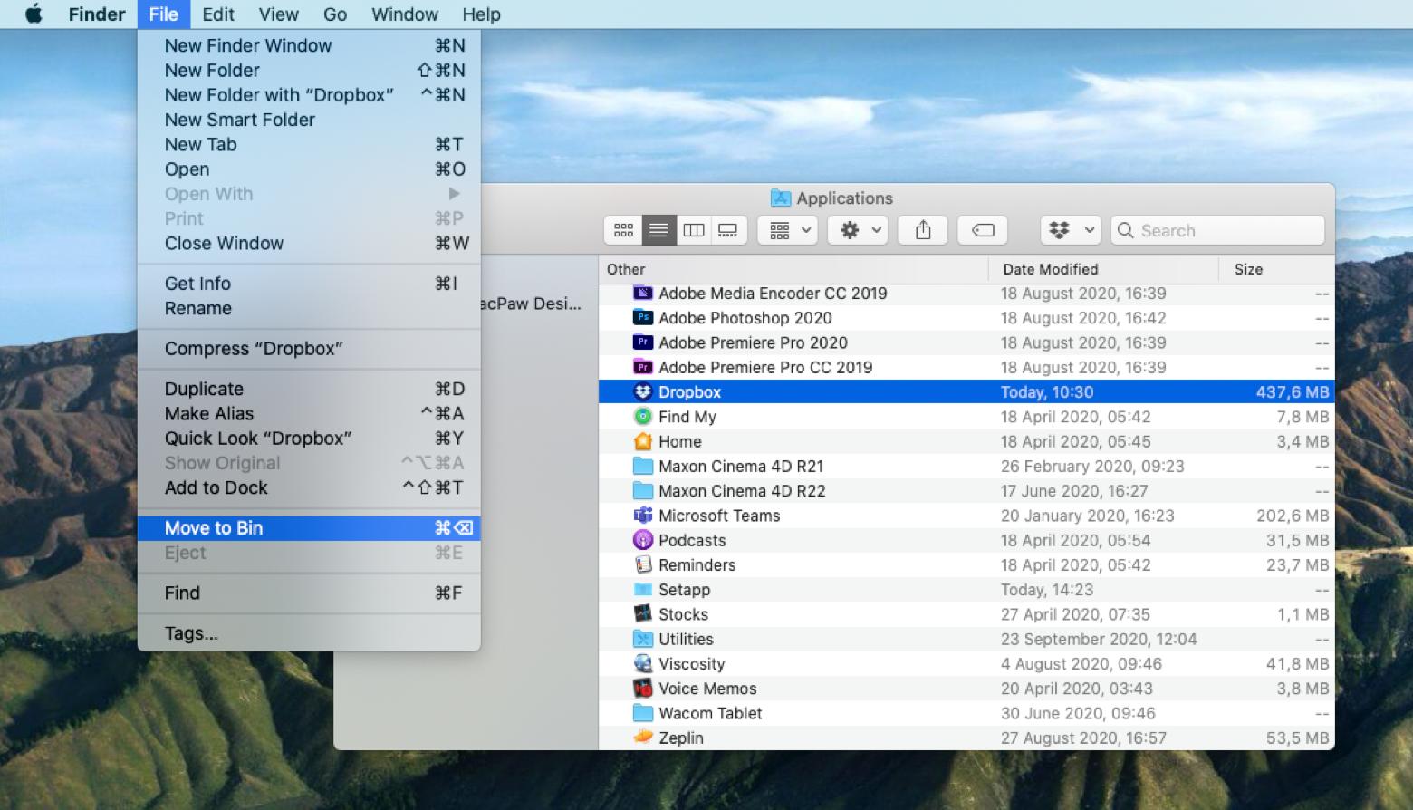 Delete app Mac applications folder