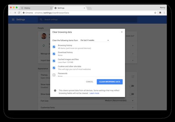 Clear browsing data in Safari