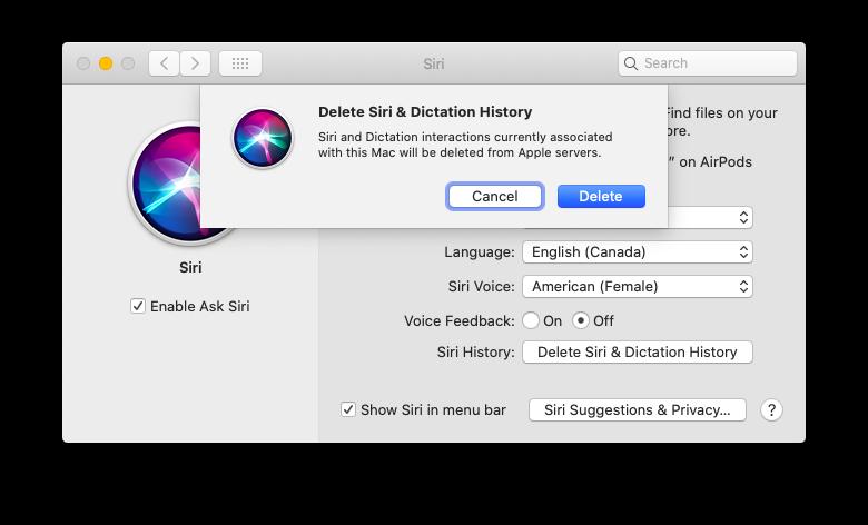 delete Siri history Mac