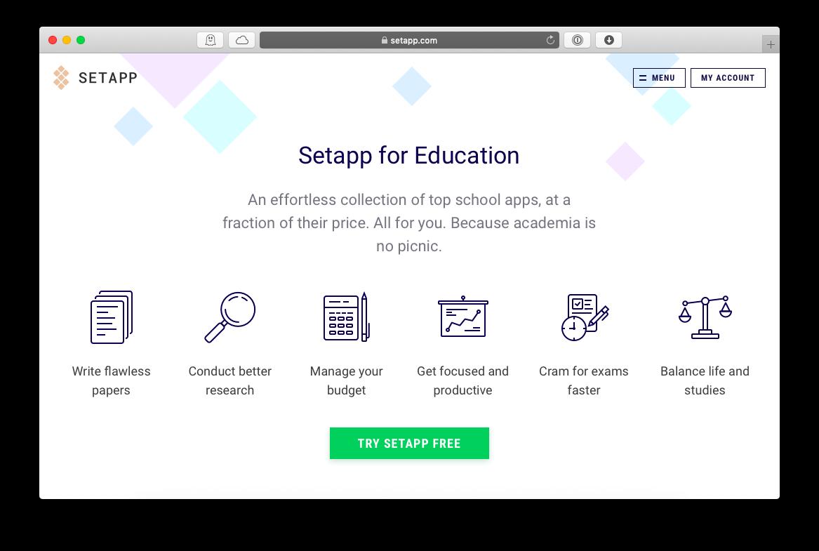 education Setapp discount 50 percent