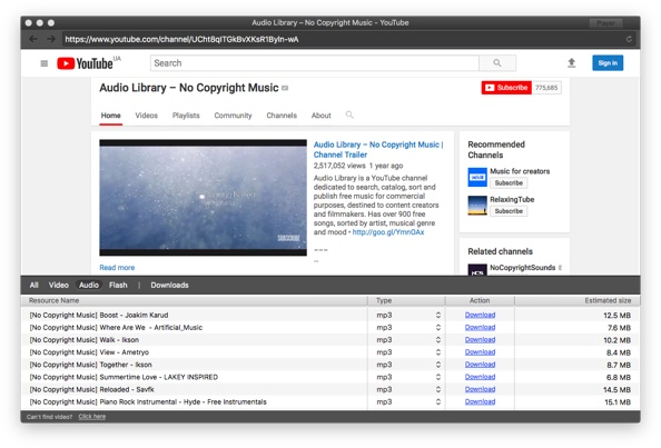 Download audio track from YouTube video with Elmedia player