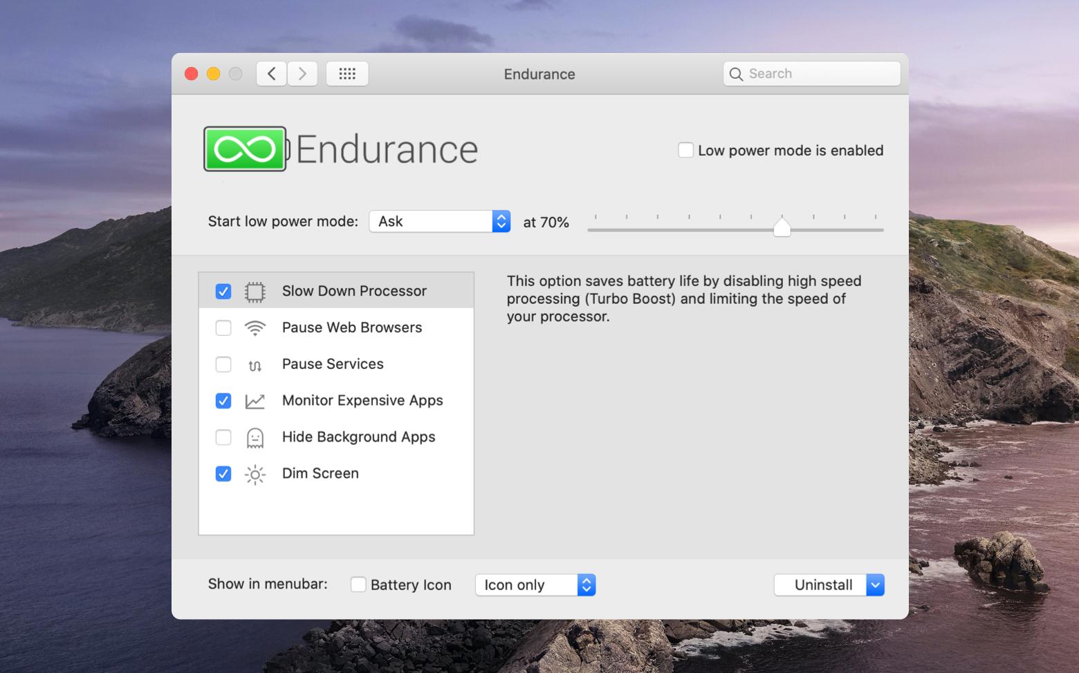 Endurance battery monitor Mac