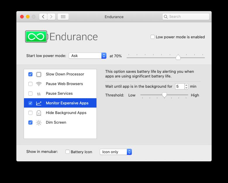 Endurance Mac app extend battery