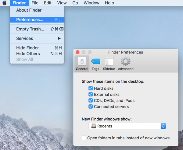 Recognize an external drive with Finder Preferences