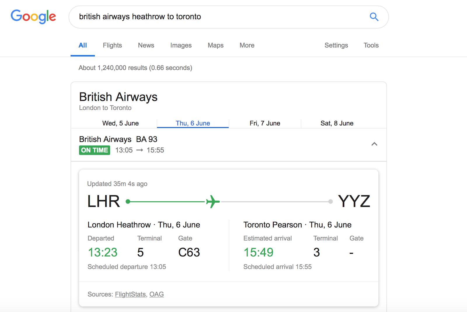 flight tracking Google