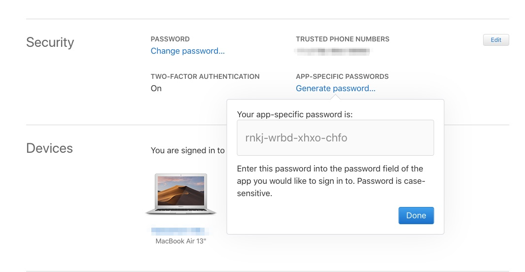 Generate App Specific Password on Mac