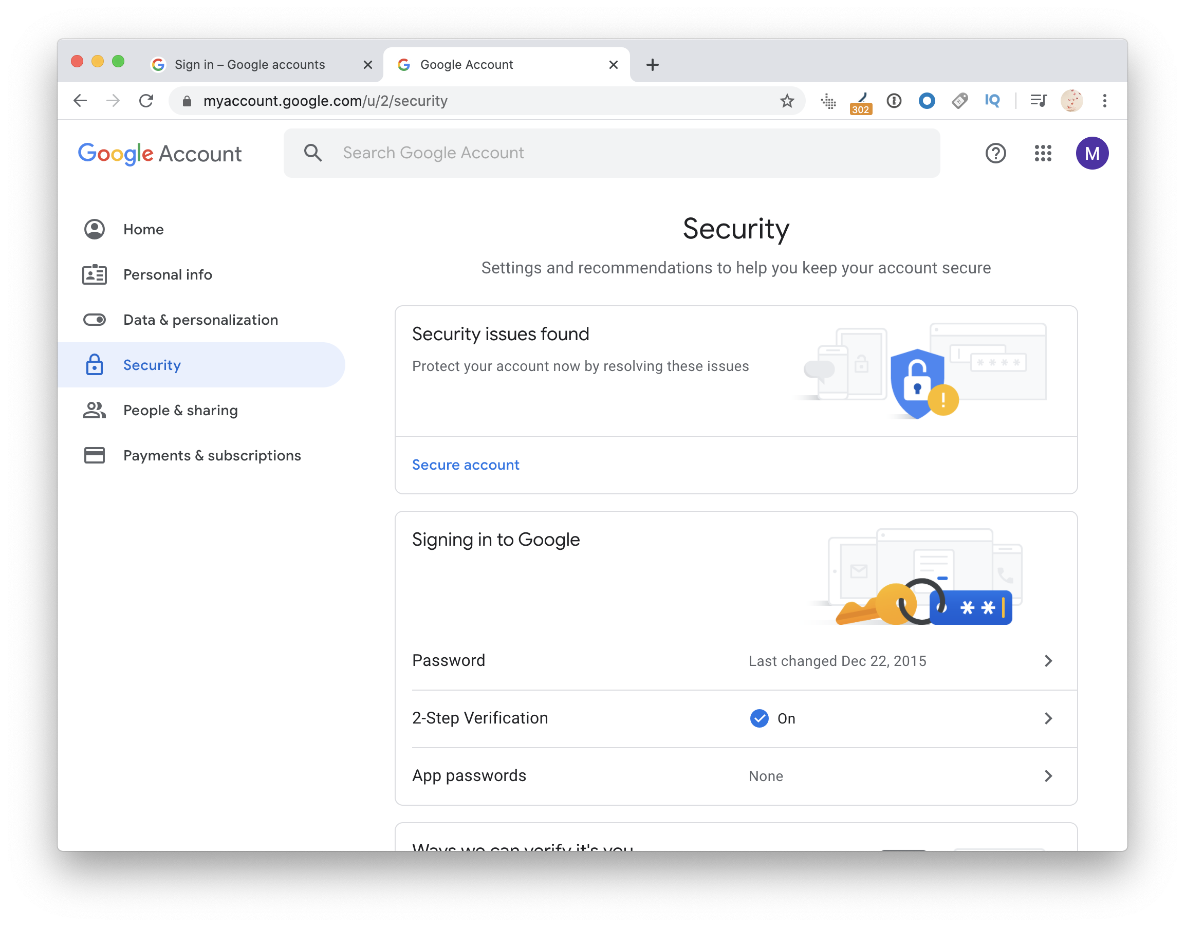 Google account security and verification