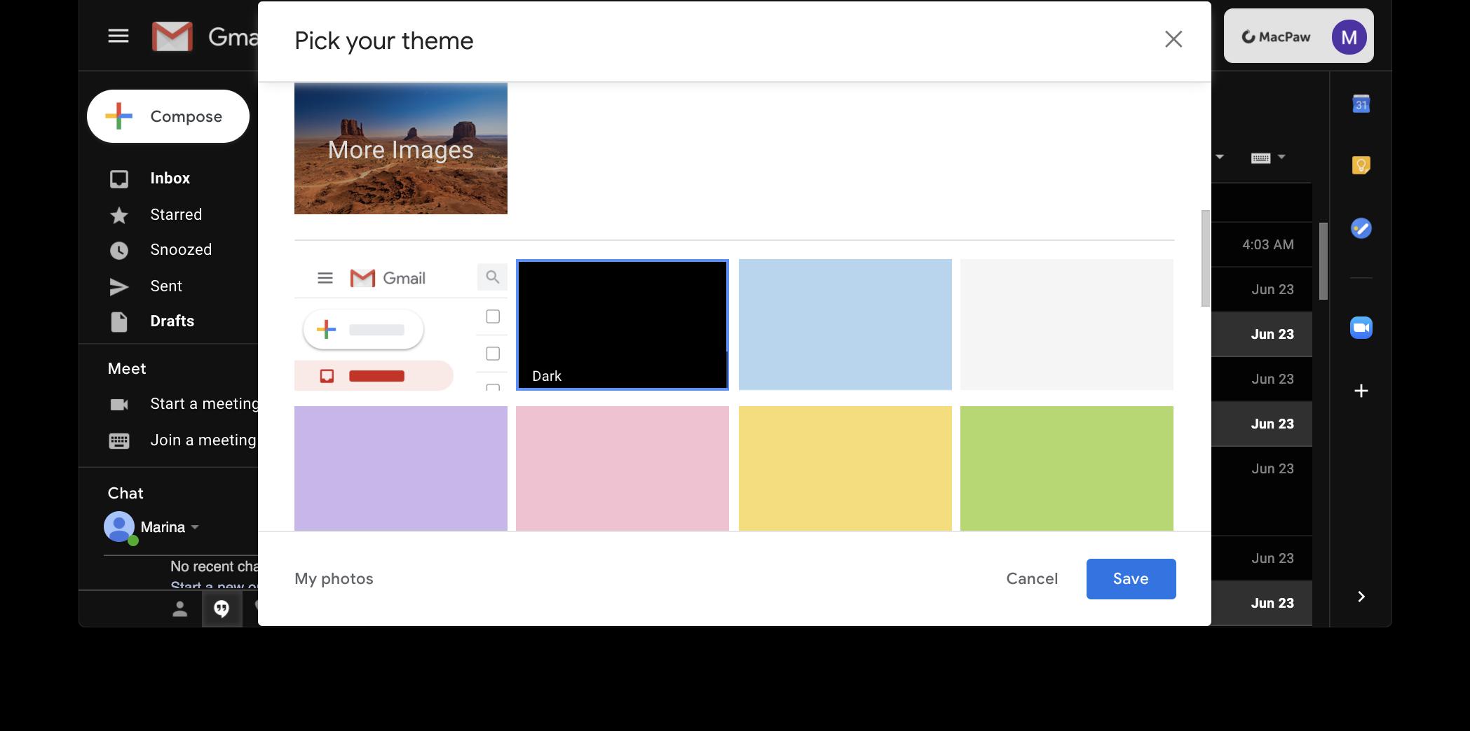 Choose Dark theme