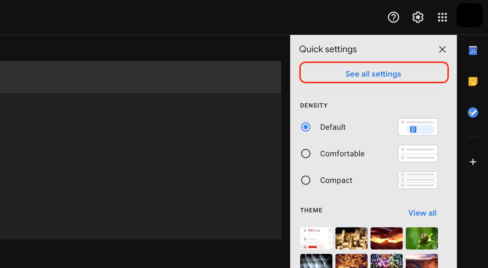 Gmail settings menu