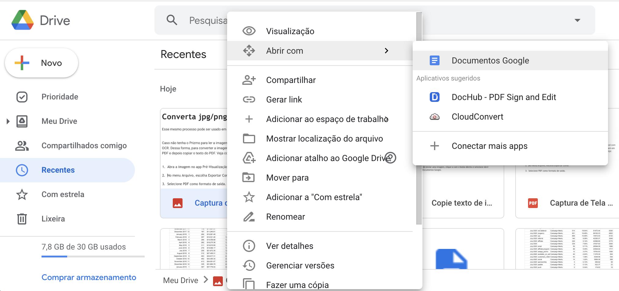 Envie a captura de tela para o Google Drive