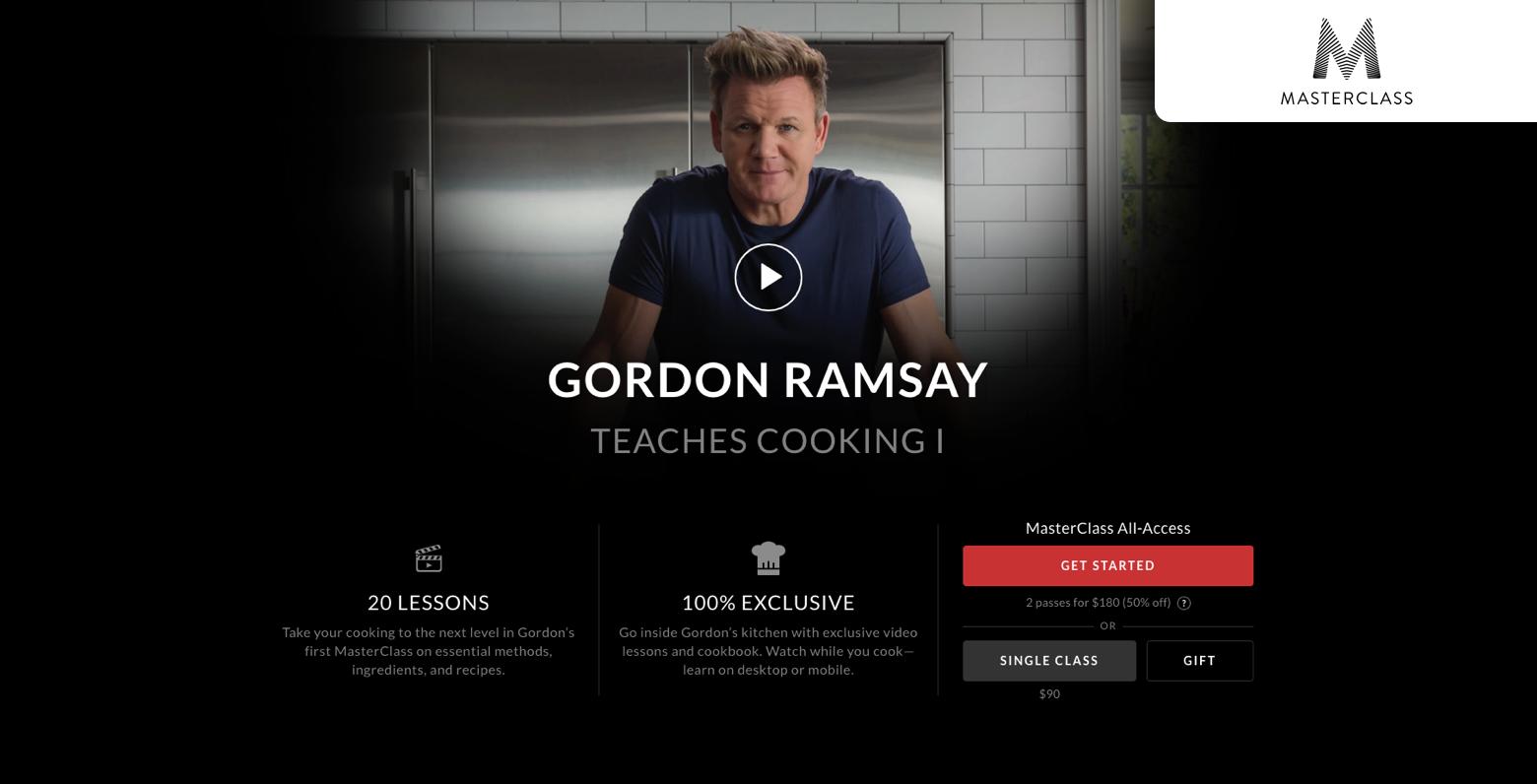 Gordon Ramsey online cooking classes